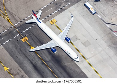 Los Angeles, California - April 14, 2019: Aerial view of a Delta Air Lines Airbus A321 airplane at Los Angeles Airport (LAX) in the United States.