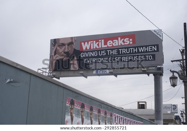 """LOS ANGELES, CALIFORNIA - APRIL 2: Wikileaks billboard of  julian assange and """"Giving us the truth when everyone else refuses to."""" on La Cienega Blvd  APRIL 2, 2011 in Los Angeles."""