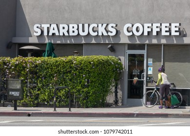 LOS ANGELES, CALIFORNIA - APRIL 27, 2018: Starbucks announced it will be closing its stores on May 29 for diversity training in response to the arrests of two black men in a Philadelphia Starbucks.