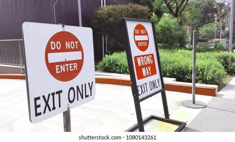 LOS ANGELES, California – April 28, 2018: Wrong Way Signs
