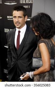 """LOS ANGELES, CALIFORNIA - August 1, 2012. Colin Farrell and Claudine Farrell at the Los Angeles premiere of """"Total Recall"""" held at the Grauman's Chinese Theater, Los Angeles."""