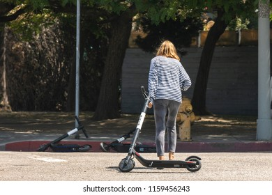LOS ANGELES, CALIFORNIA - AUGUST 19, 2018: Residents throughout the LA area are fed up with electric scooters like BIRD, that block sidewalks and are taking their frustration out on the scooters.