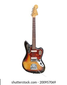 LOS ANGELES, CALIFORNIA - August 26th, 2009:  Illustrative editorial photo of vintage Fender Jaguar electric guitar with heavy wear from decades of use.