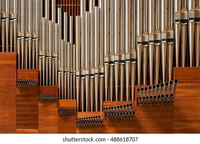 LOS ANGELES, CALIFORNIA - AUGUST 3: Organ pipes in the Cathedral of Our Lady of the Angels on Temple Street on August 3, 2016 in Los Angeles, California