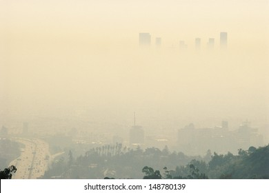 LOS ANGELES, CALIFORNIA - CIRCA 1980's: Smoggy day in Los Angeles, CA