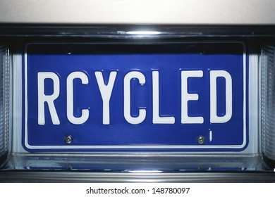LOS ANGELES, CALIFORNIA - CIRCA 1990's: License plate with `RECYCLED` writen on it in Los Angeles, CA