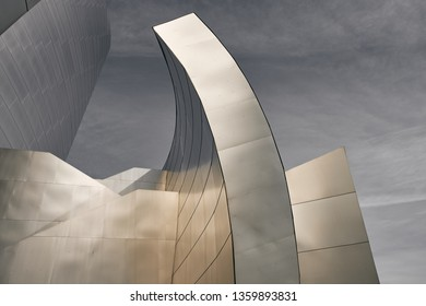 Los Angeles, California - Dec 26, 2018: Architectural detail of the landmark Walt Disney Concert Hall, designed by architect Frank Gehry.