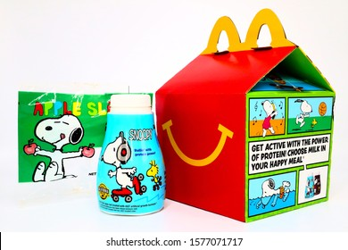 Los Angeles, California – December 2, 2019: McDonald's Happy Meal cardboard box with SNOOPY a Peanuts Characters. McDonald's is a fast food restaurant chain