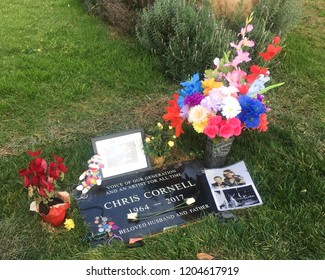 Los Angeles, California / December 7 2017: Grave of Chris Cornell, Hollywood Forever Cemetery