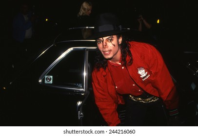 LOS ANGELES, CALIFORNIA - Exact date unknown - circa 1990 - Michael Jackson arriving at a celebrity event
