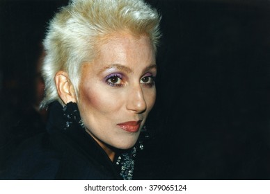 LOS ANGELES, CALIFORNIA - EXACT DATE UNKNOWN - CIRCA 1985 - very rare photo of Cher with short blonde hair and no wig attending a celebrity function