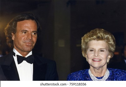 Los Angeles, California - exact date unknown - circa 1990 - Julio Iglesias and former first lady Betty Ford attending a celebrity event