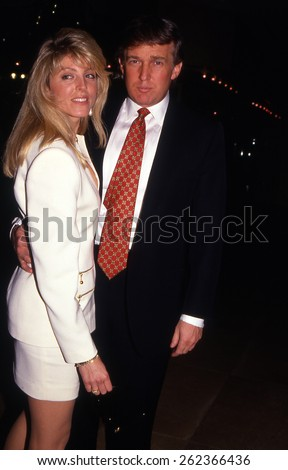 LOS ANGELES, CALIFORNIA - exact date unknown - circa 1990 - Donald Trump and second wife Marla Maples arriving at a celebrity event
