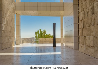 LOS ANGELES, CALIFORNIA - FEBRUARY 07, 2018: A minimalist terrace with view across open country at the Getty Center in Los Angeles.
