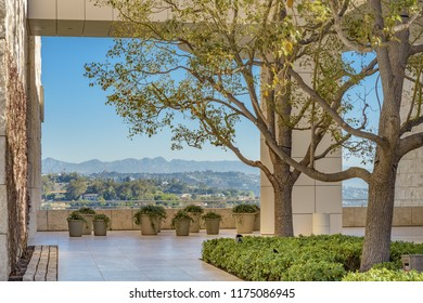LOS ANGELES, CALIFORNIA - FEBRUARY 07, 2018: A landscaped terrace with view across open country at the Getty Center in Los Angeles.
