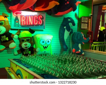 Los Angeles, California - February 10, 2019: Night view of an attraction in the Santa Monica amusement park.