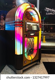 Los Angeles, California - February 12 2019:old colorful Jukebox in Santa Monica California on Route 66