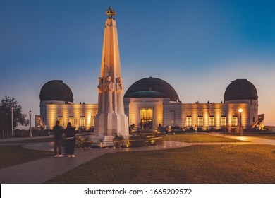 Los Angeles, California - February 18, 2020 : Astronomers Monument in front of Griffith Observatory in Griffith Park, Los Angeles, California, USA