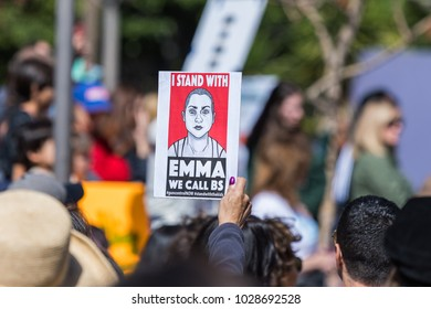 "LOS ANGELES, CALIFORNIA - FEBRUARY 19, 2018: A woman holds a sign ""I Stand With Emma We Call BS"" sign at the People's Rally Against Gun Violence in Pershing Square."