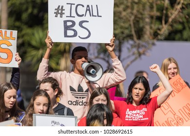 "LOS ANGELES, CALIFORNIA - FEBRUARY 19, 2018: ""#ICallBS"" hashtag sign at the People's Rally Against Gun Violence in Pershing Square."
