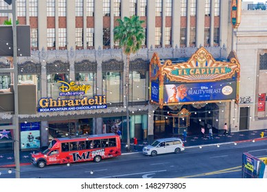 Los Angeles, California - February 20 2019: view of the palm-lined streets of Hollywood, city of theaters and stars