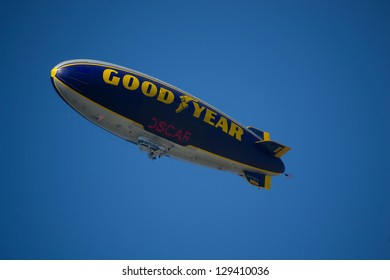LOS ANGELES, CALIFORNIA - FEBRUARY 24: Goodyear Blimp  honoring the day of the Academy Awards using illuminated sign with the word Oscar on February 24, 2013 in Los Angeles, California