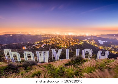 LOS ANGELES, CALIFORNIA - FEBRUARY 29, 2016: The Hollywood sign overlooking Los Angeles. The iconic sign was originally created in 1923.