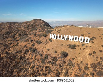 Los Angeles, California, Hollywood, US, 2017/12/26, Hollywood sign, aerial view, summer & blue, hills