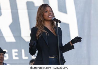 LOS ANGELES, CALIFORNIA - JANUARY 19, 2019:  Laverne Cox speaks to thousands of women who turned out for the 3rd Annual Women's March.