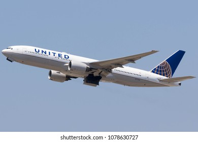 Los Angeles, California- July 18th: United Airlines Boeing 777-222 reg. N772UA departing Los Angeles Airport on the 18th of July 2017.