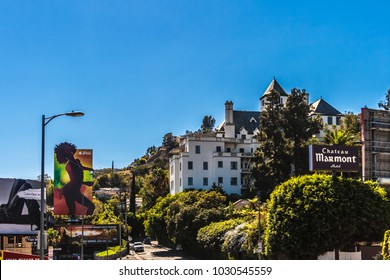 LOS ANGELES, CALIFORNIA - JULY 19, 2007: The Famous luxury hotel Chateau Marmont located in West Hollywood, Los Angeles, California.