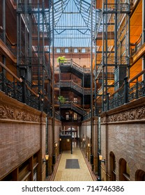 LOS ANGELES, CALIFORNIA - JULY 30: Lobby of the Bradbury Building on Broadway on July 30, 2017 in Los Angeles, California