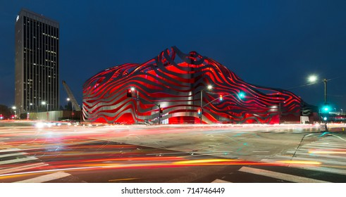 LOS ANGELES, CALIFORNIA - JULY 30: Exterior of the Petersen Automotive Museum on Wilshire Blvd on July 30, 2017 in Los Angeles, California