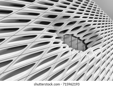 LOS ANGELES, CALIFORNIA - JULY 31: Exterior of the Broad museum on Grand Avenue on July 31, 2017 in Los Angeles, California