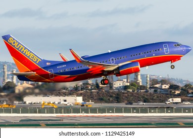 Los Angeles, California - July 4th 2018: Southwest Airlines Boeing 737-7H4 reg. N222WN departing out of Los Angeles International Airport.