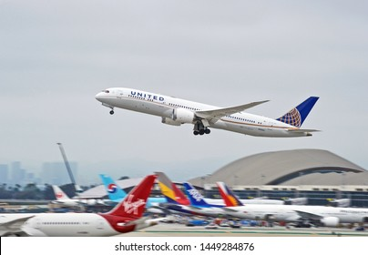 LOS ANGELES - CALIFORNIA, JUNE 1, 2019:  United Airlines Boeing 787 Dreamliner aircraft is airborne as it departs Los Angeles International Airport. Los Angeles, California USA