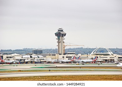 LOS ANGELES - CALIFORNIA JUNE 1, 2019: Los Angeles International Airport. Airport terminals and control tower. Los Angeles, California USA