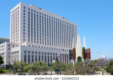 LOS ANGELES, CALIFORNIA - JUNE 12, 2018: The United States Courthouse Building at Main Street and Temple.