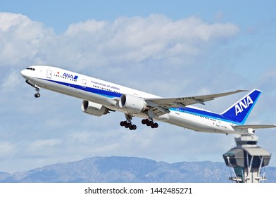 LOS ANGELES - CALIFORNIA, JUNE 16, 2019: All Nippon Airways (ANA) Boeing 777 aircraft is airborne as it departs Los Angeles International Airport. Los Angeles, California USA