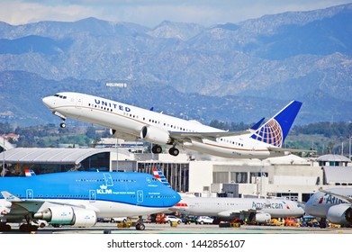 LOS ANGELES - CALIFORNIA, JUNE 16, 2019:  United Airlines Boeing 737 Max 9 aircraft is airborne as it departs Los Angeles International Airport. Los Angeles, California USA