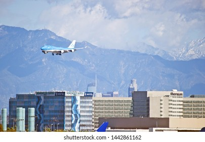 LOS ANGELES - CALIFORNIA, JUNE 16, 2019: KLM Royal Dutch Airlines Boeing 747 aircraft approaching Los Angeles International Airport to make a landing. Los Angeles, California USA