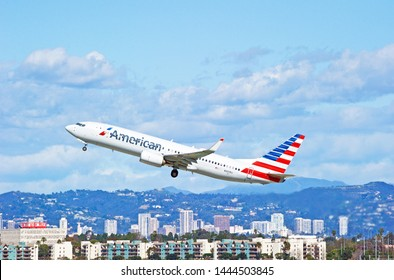 LOS ANGELES - CALIFORNIA, JUNE 16, 2019: American Airlines Boeing 737 aircraft is airborne as it departs Los Angeles International Airport. Los Angeles, California USA