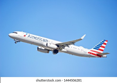 LOS ANGELES - CALIFORNIA, JUNE 16, 2019: American Airlines Airbus A321 aircraft is airborne as it departs Los Angeles International Airport. Los Angeles, California USA