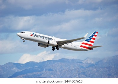 LOS ANGELES - CALIFORNIA, JUNE 16, 2019: American Airlines Boeing 737 is airborne as it departs Los Angeles International Airport. Los Angeles, California USA