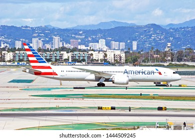 LOS ANGELES - CALIFORNIA, JUNE 16, 2019: American Airlines Boeing 787-9 Dreamliner taxiing along the tarmac at Los Angeles International Airport. Los Angeles, California USA