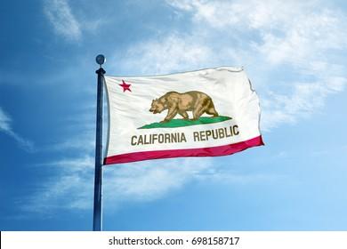LOS ANGELES, CALIFORNIA - JUNE 16, 2016: Republic California flag on the mast