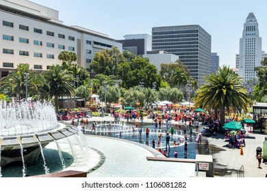 LOS ANGELES, CALIFORNIA - JUNE 2, 2018: Moms Demand Action Community Fair took place at Grand Park in downtown Los Angeles bringing together families and activits.