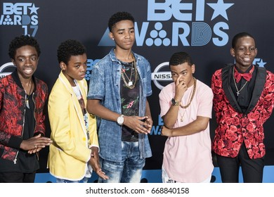 LOS ANGELES, CALIFORNIA - JUNE 25, 2017: The cast of the 'New Edition Story' attended the 2017 BET Awards Red Carpet at the Microsoft Theater in Los Angeles, California on June 25, 2017.