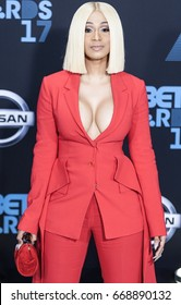 LOS ANGELES, CALIFORNIA - JUNE 25, 2017: Cardi B. attends the 2017 BET Awards Red Carpet at the Microsoft Theater in Los Angeles, California on June 25, 2017.