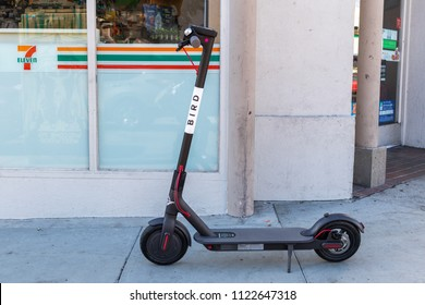 LOS ANGELES, CALIFORNIA - JUNE 28, 2018: City Governments like Santa Monica will start impounding scooters left on sidewalks or otherwise impeding traffic.